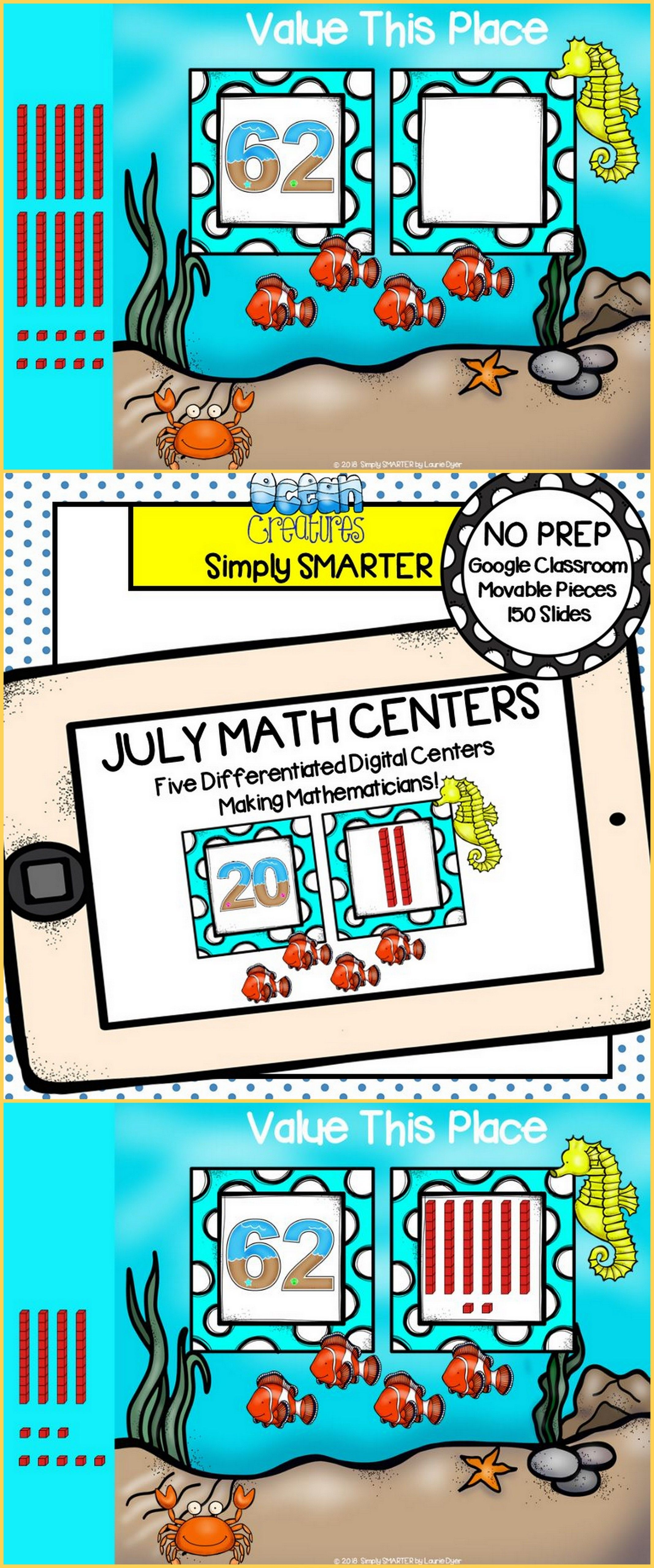 July Kindergarten Digital Math Centers For