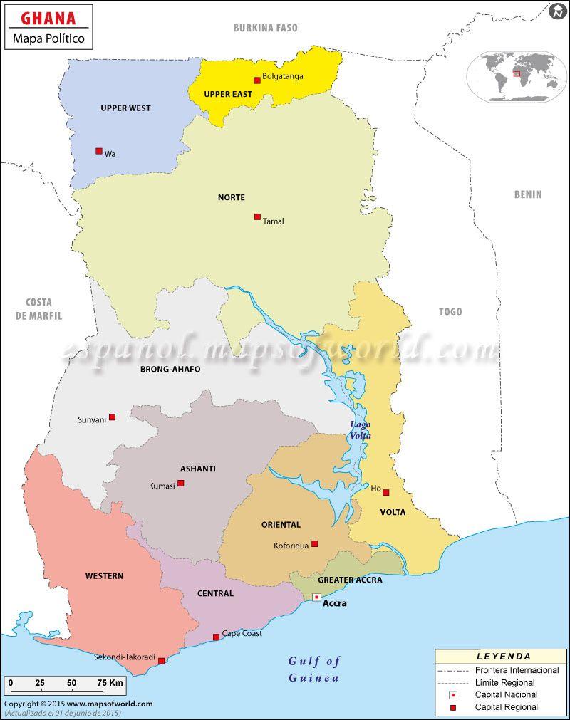Mapa de Ghana Ghana and Africa