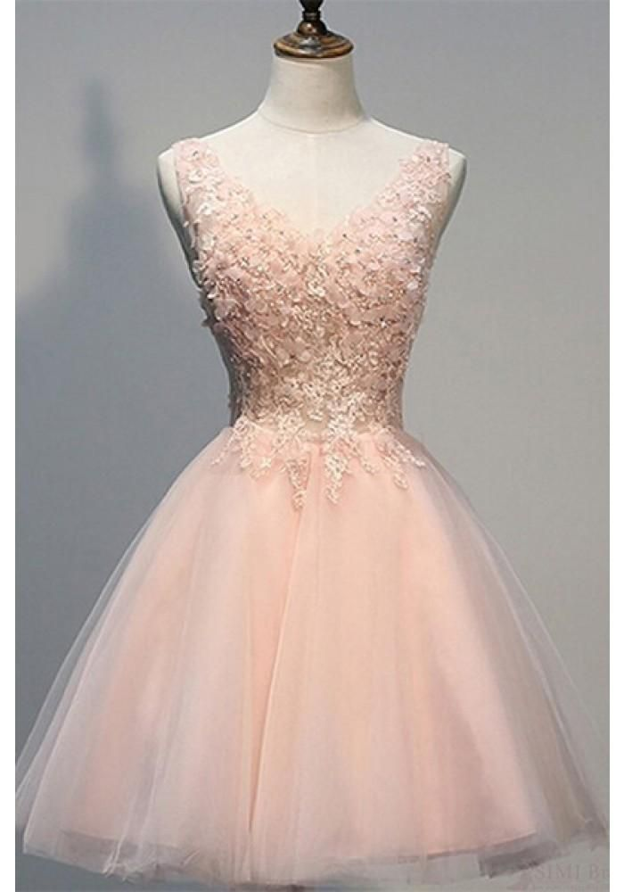 A,line Knee Length Short Homecoming Dresses with Lace