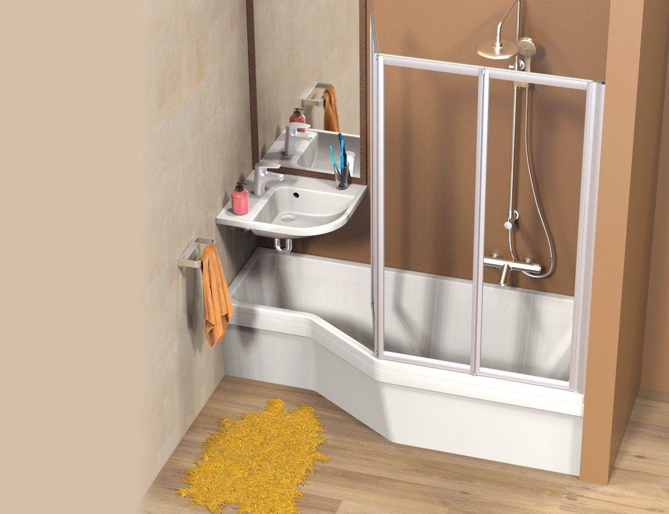 Salle de bains compacte avec un ensemble ravak be happy for Douche lavabo gain de place