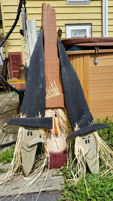 Large Witch And Scarecrow Faces Halloween Wood Crafts Diy