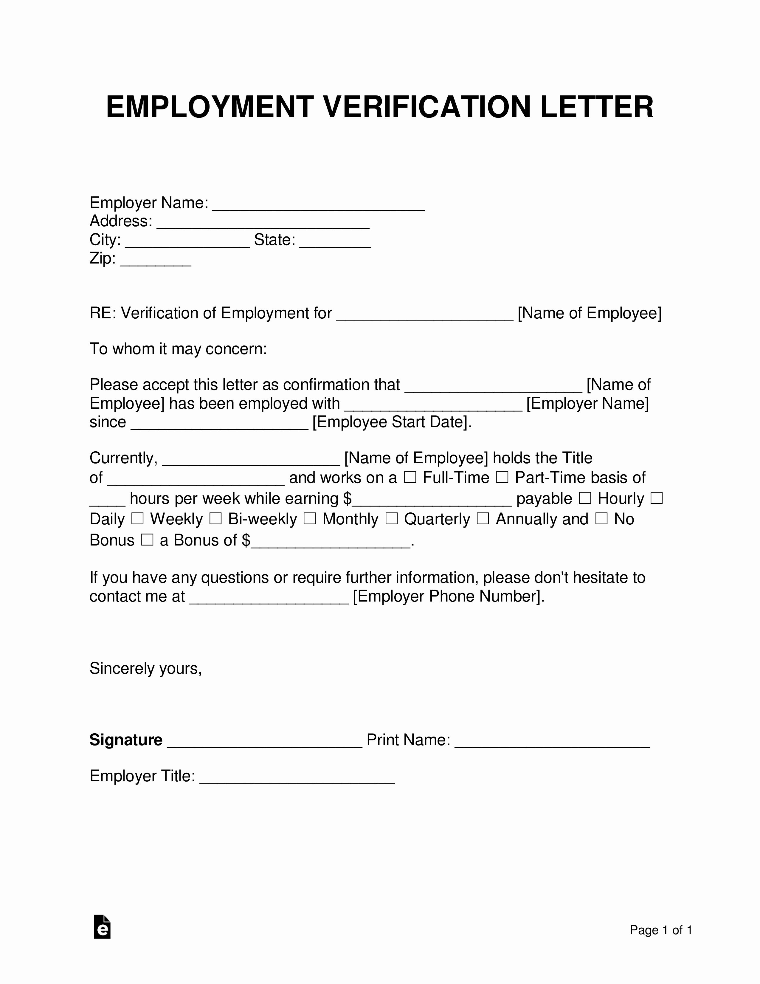 Employment Verification form Template Awesome Free