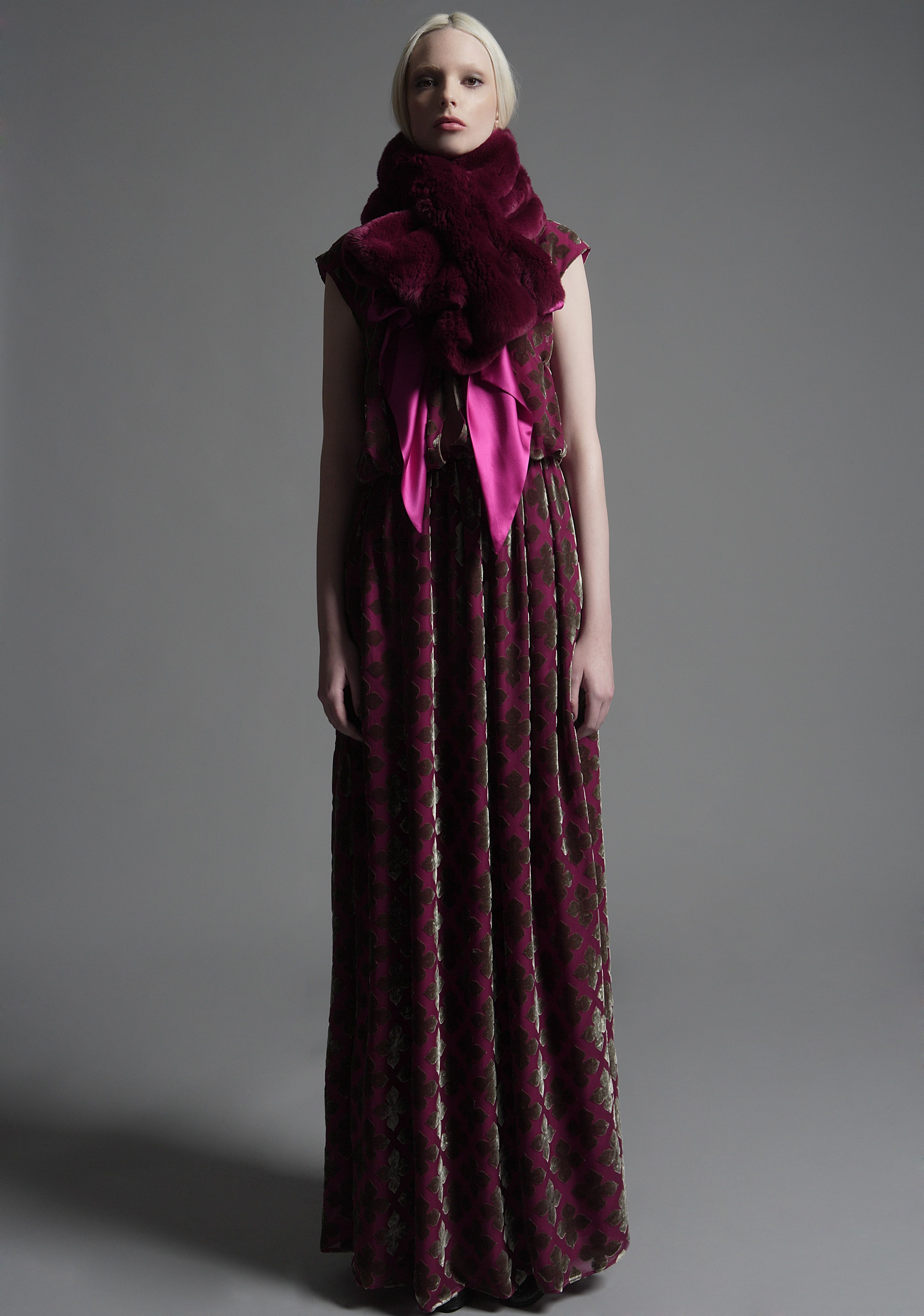 Leonora fur cross over scarf rose silk burnout velvet dress