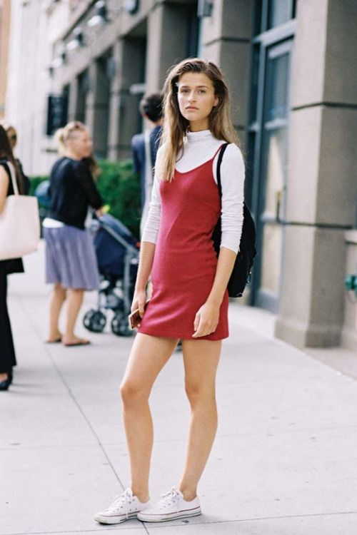 red little dress @roressclothes closet ideas #women fashion outfit #clothing style apparel Model Street Style