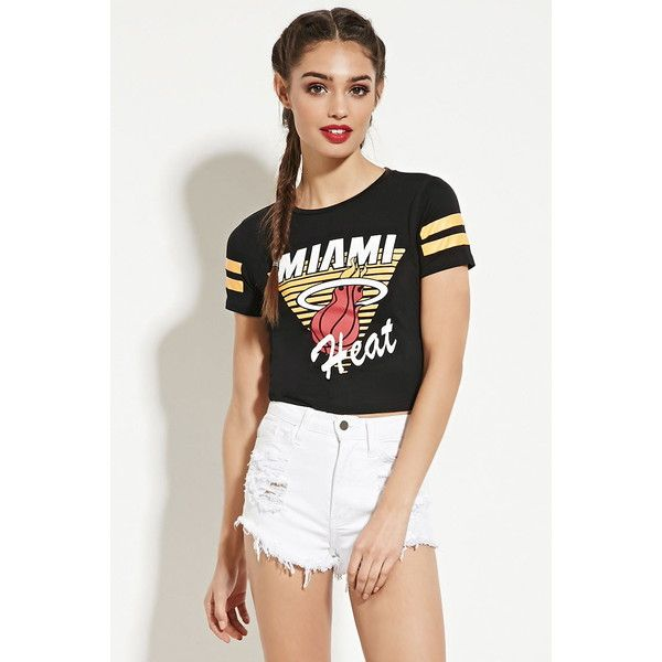70254ed40e06c4 Forever 21 Women s Miami Heat Graphic Tee ( 16) ❤ liked on Polyvore  featuring tops