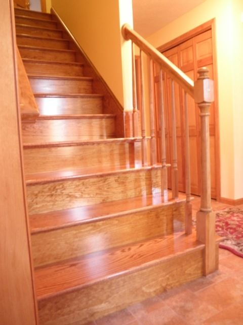 Red Oak Stairs. Hopefully There Will Be Hardwood Under The Carpet!