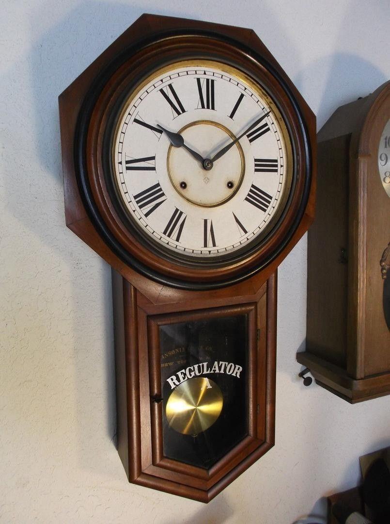 NICE ORIGINAL ANTIQUE CIRCA 1906 ANSONIA CLOCK CO MODEL REGULATOR