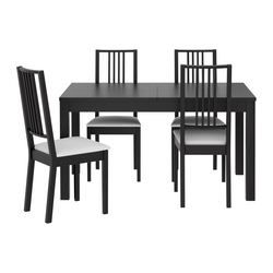 BJURSTA / BÖRJE Table and 4 chairs, brown-black, Gobo white ...