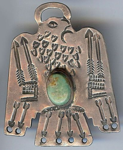 LARGE-VINTAGE-NAVAJO-SILVER-TURQUOISE-SHAPED-THUNDERBIRD-FOB