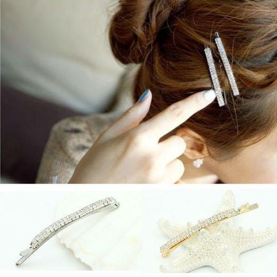YouMap Nouvelle-Coréen Pince à Cheveux Double Rangée Strass Épingle À Cheveux de Femmes Accessoires A14R1C
