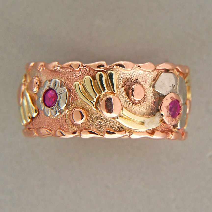 pink and gold art | Art Deco Retro Size 7 3 4 Pink White Green Gold 14k Ruby Band Ring ...
