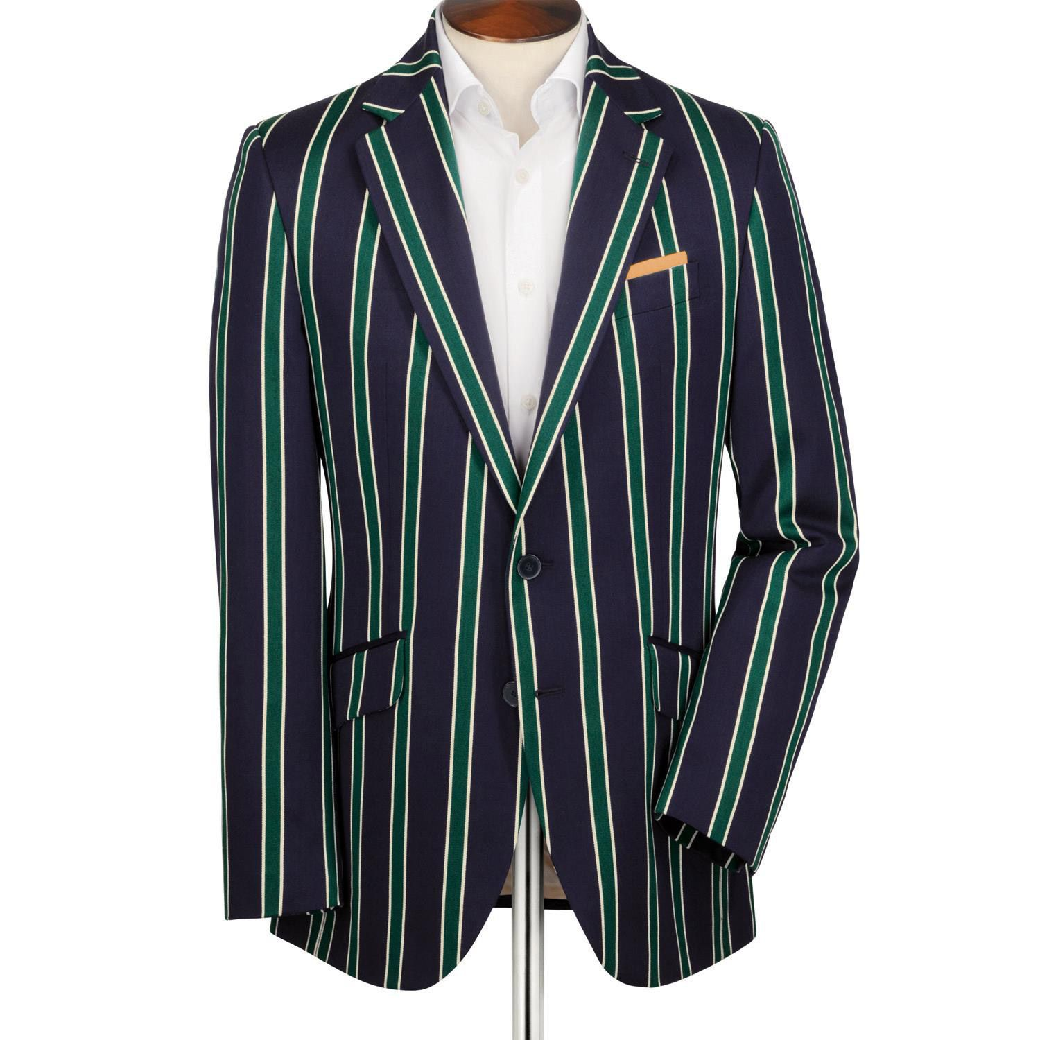 31e0fc06019 Navy and green striped boating Classic fit blazer