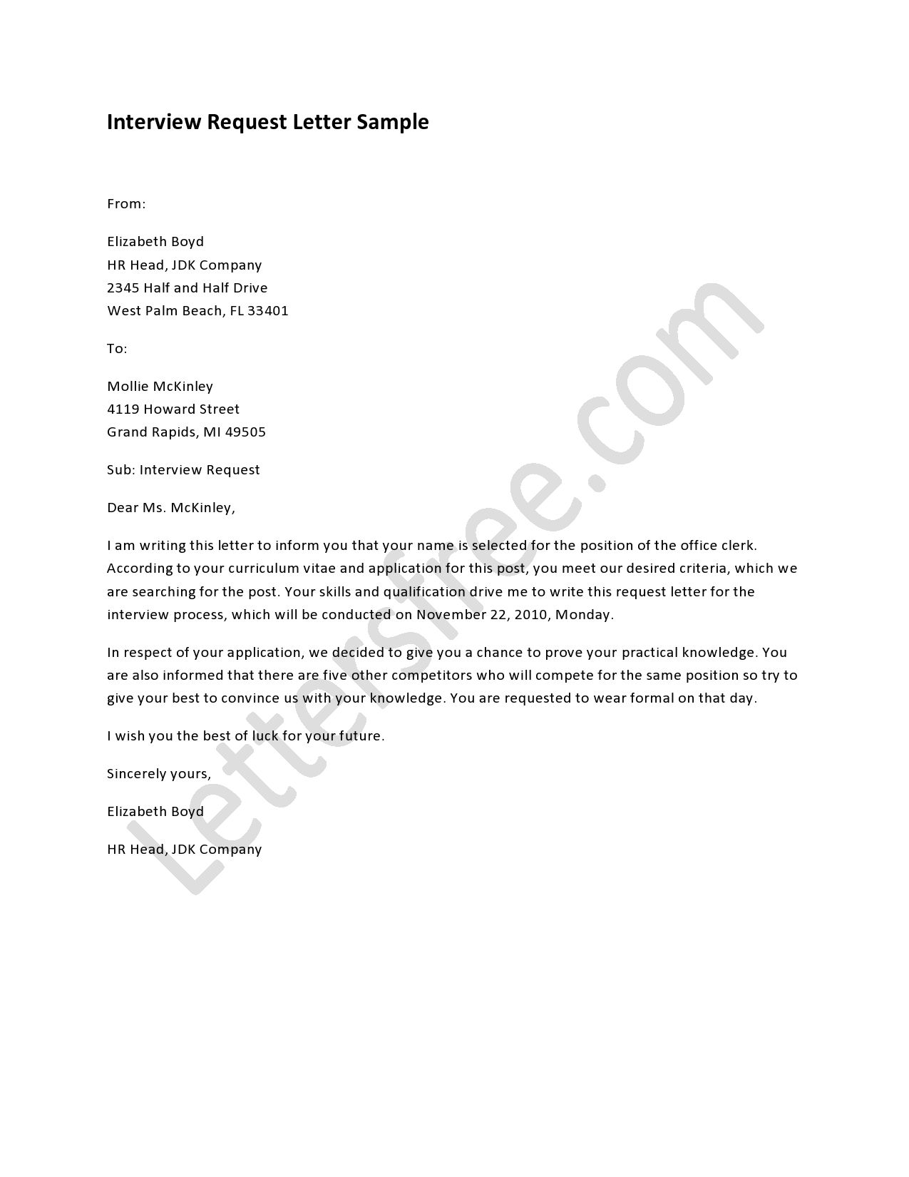 Tips For Writing Interview Request Letter  Resume Templates