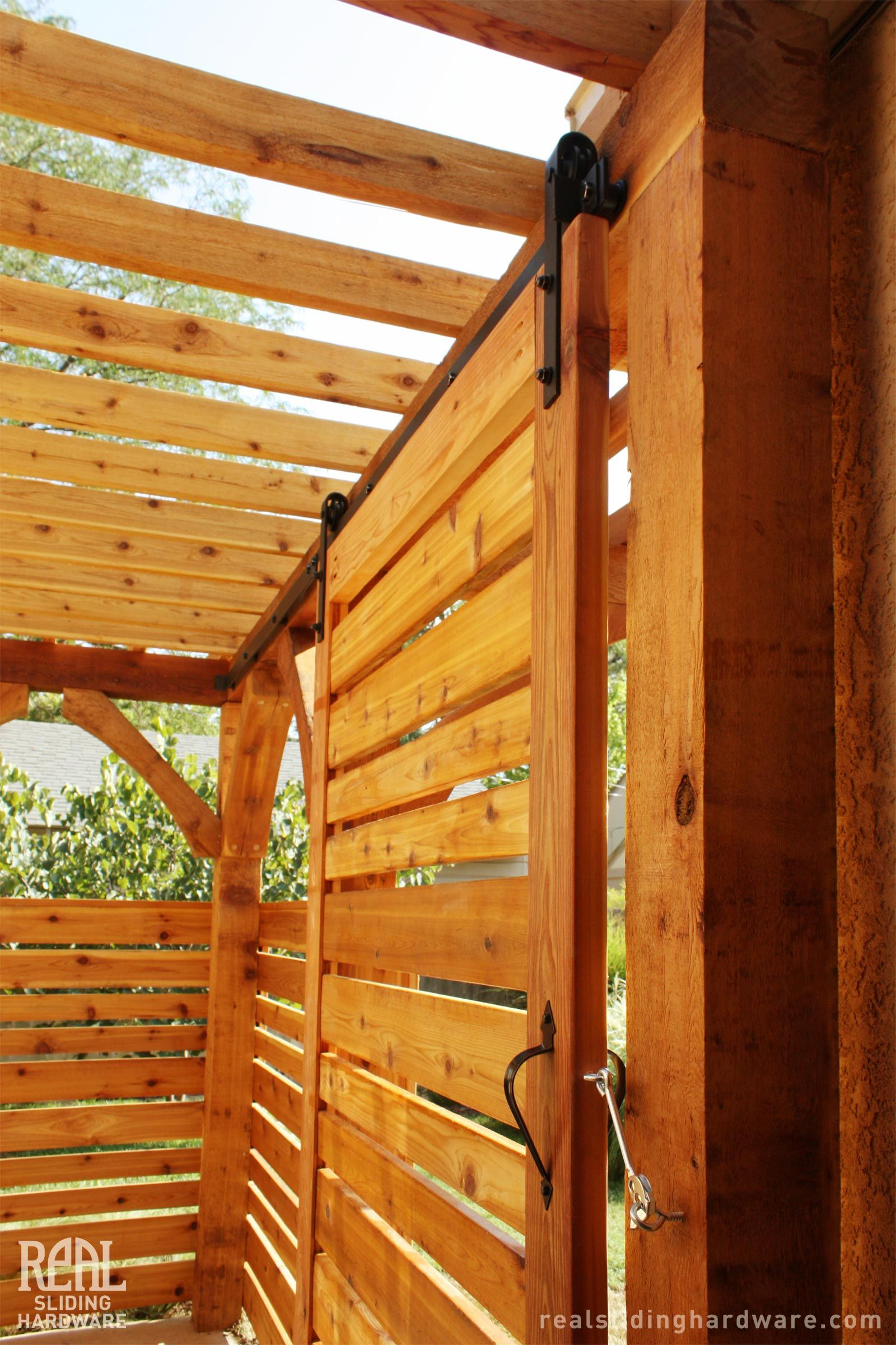 Outdoor Sliding Door On A Pergola Barn Doors Sliding Barn Door