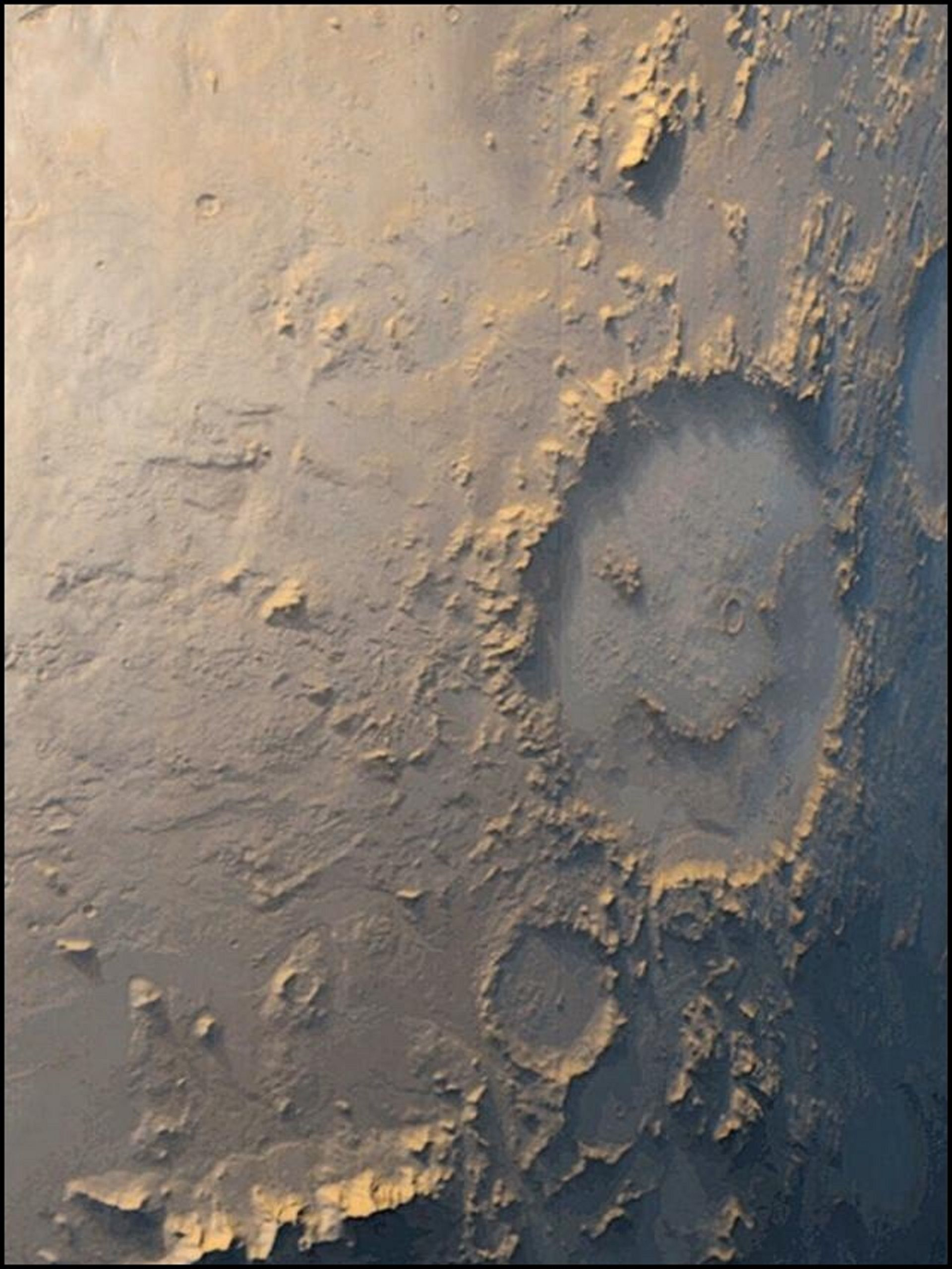 Photo Provided By Nasa Crater Happy Face Happy Face Crater Captured By The Mars Global Surveyor On 8 March 1999 It I Space Pictures Life On Mars Planets