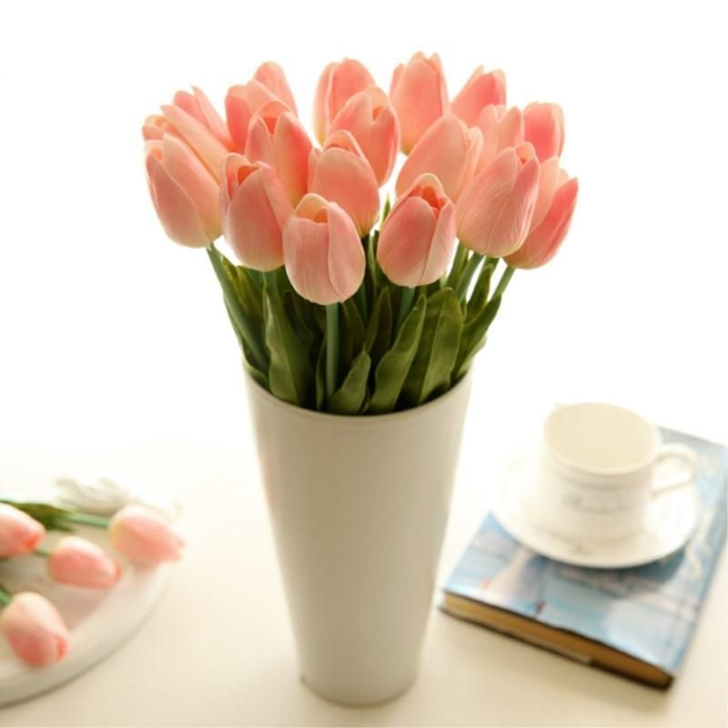 Tulips Artificial Mini Tulip For Home Wedding Decoration 20pcs Artificial Flower Wedding Bouquets Real Touch Wedding Flowers Fake Flower Bouquet