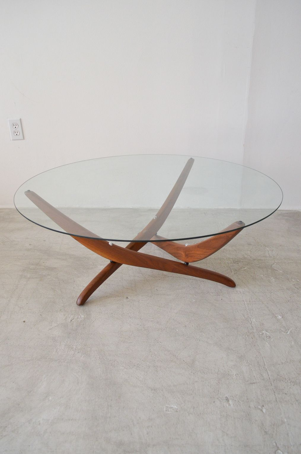 Walnut and glass coffee table by forest wilson round walnut base walnut and glass coffee table by forest wilson round walnut base atomic style coffee table in the manner of adrian pearsall measures diameter x h glass is geotapseo Choice Image
