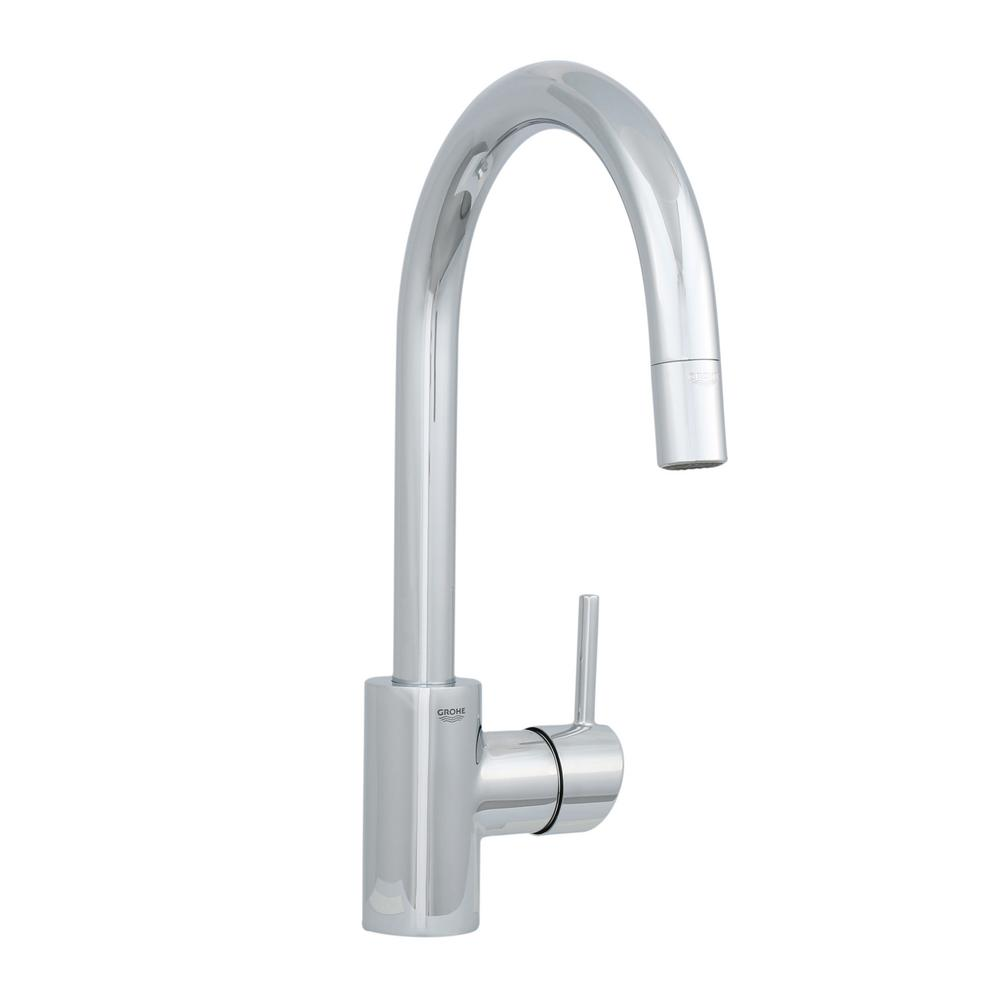 Grohe Concetto Single Handle Pull Down Sprayer Kitchen Faucet In