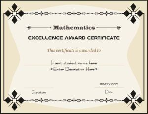 Mathematics excellence award certificate template for ms word mathematics excellence award certificate template for ms word download at httpcertificatesinn yelopaper Choice Image