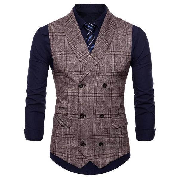 Coolred-Women Business Blazer Slim Fit Plaid Classics Waistcoat Vest