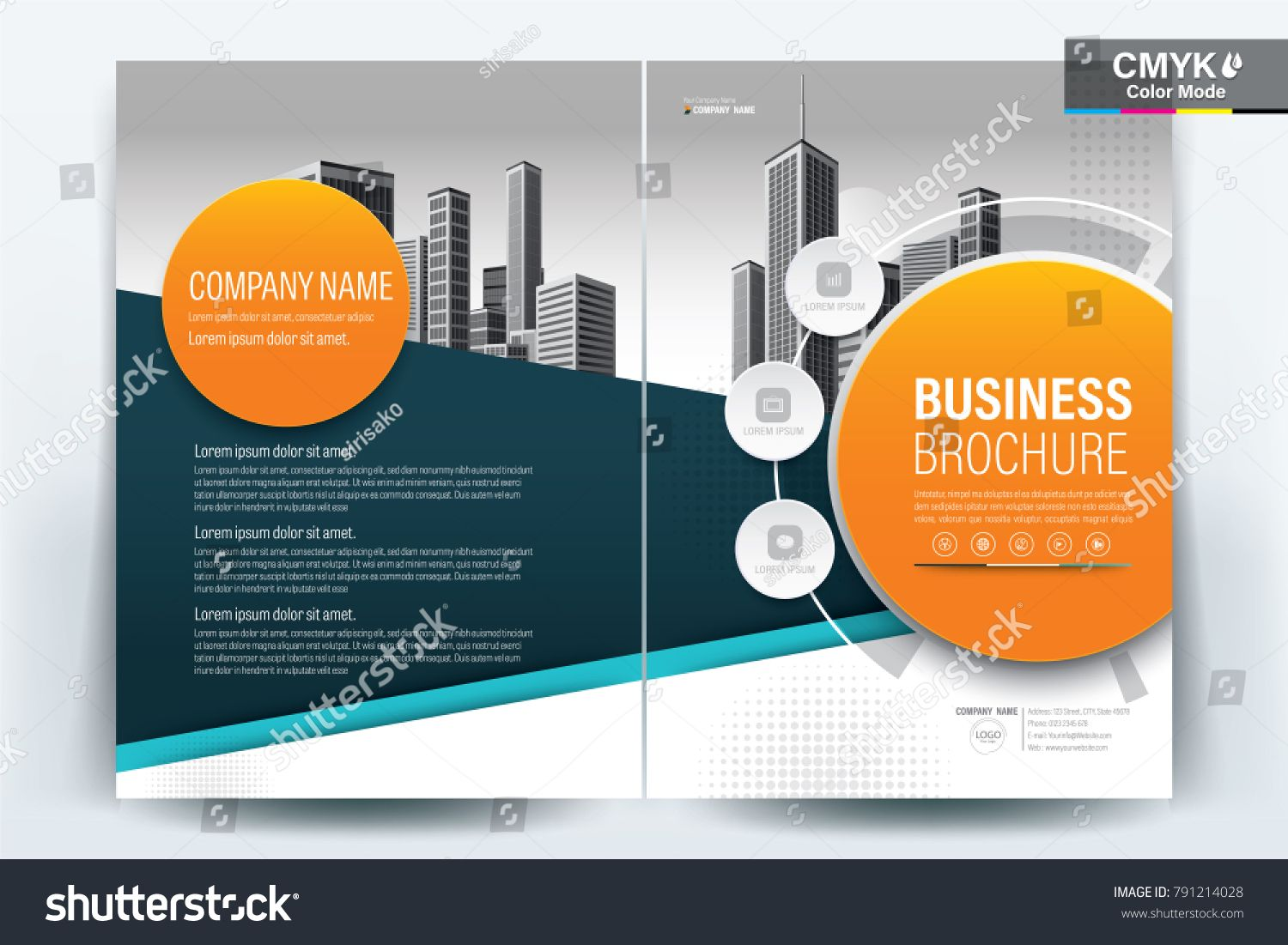 cb6f7135b4faa3 Business Brochure Background Design Template, Flyer Layout, Poster,  Magazine, Annual Report, Book, Booklet with Orange and Blue Circle and  Building Image.