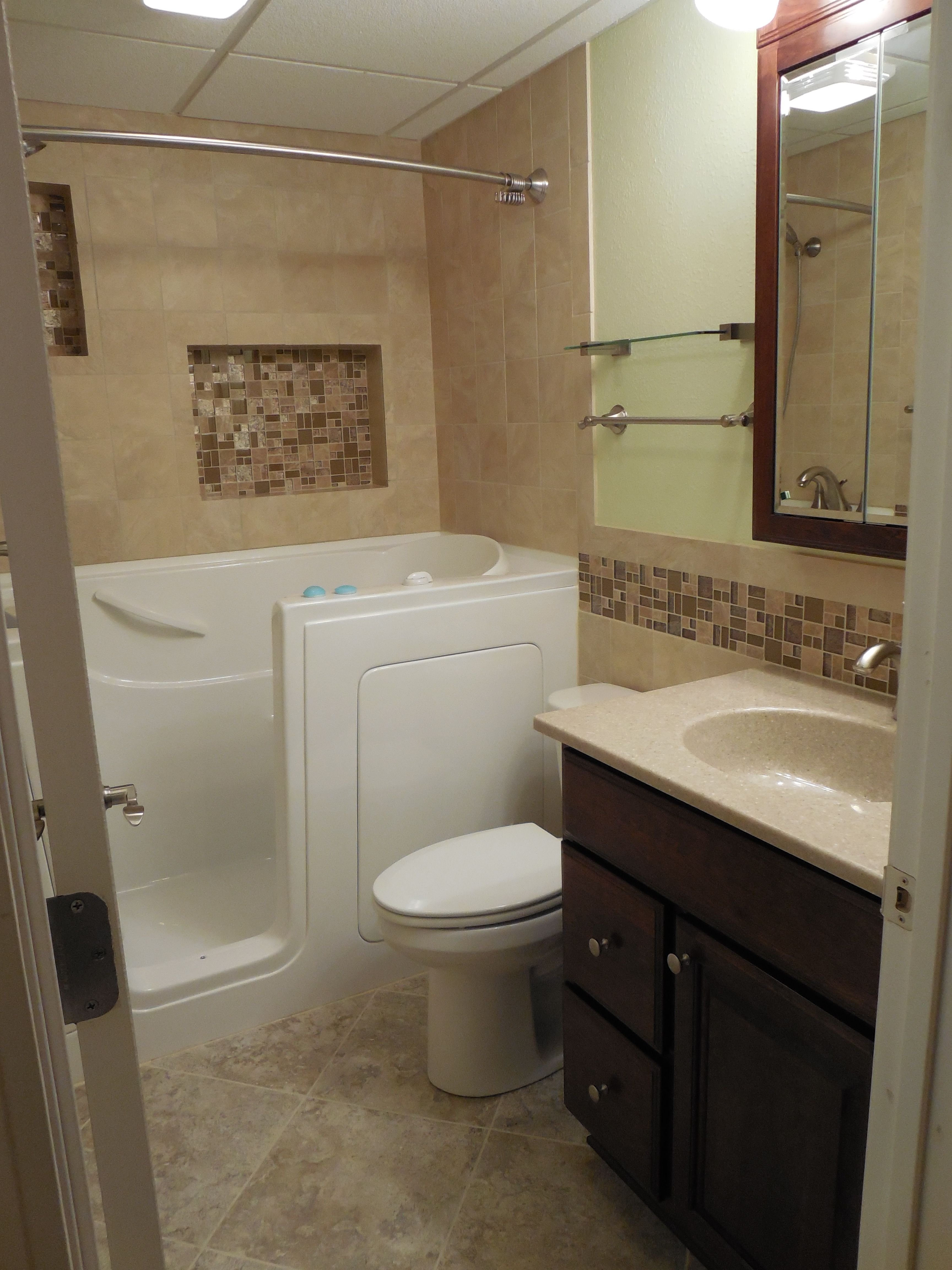 Small Bathroom With Walk In Tub Beige Tile Lime Green Pop Of