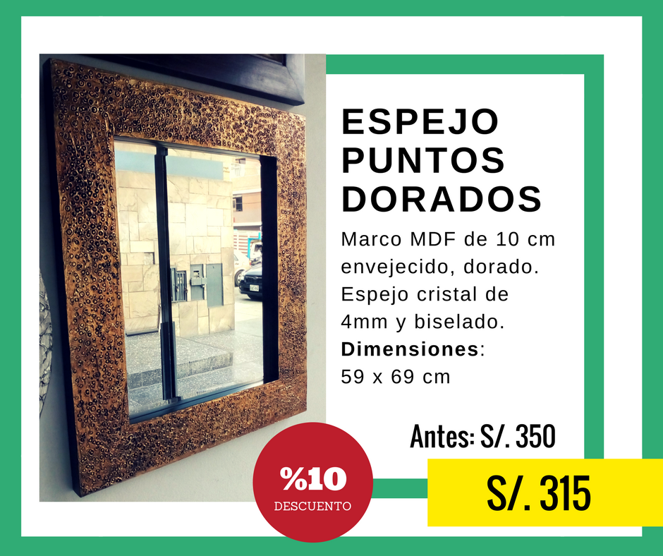 Oferta Espejo de Puntos Dorados con 10% de descuento en nuestra ...