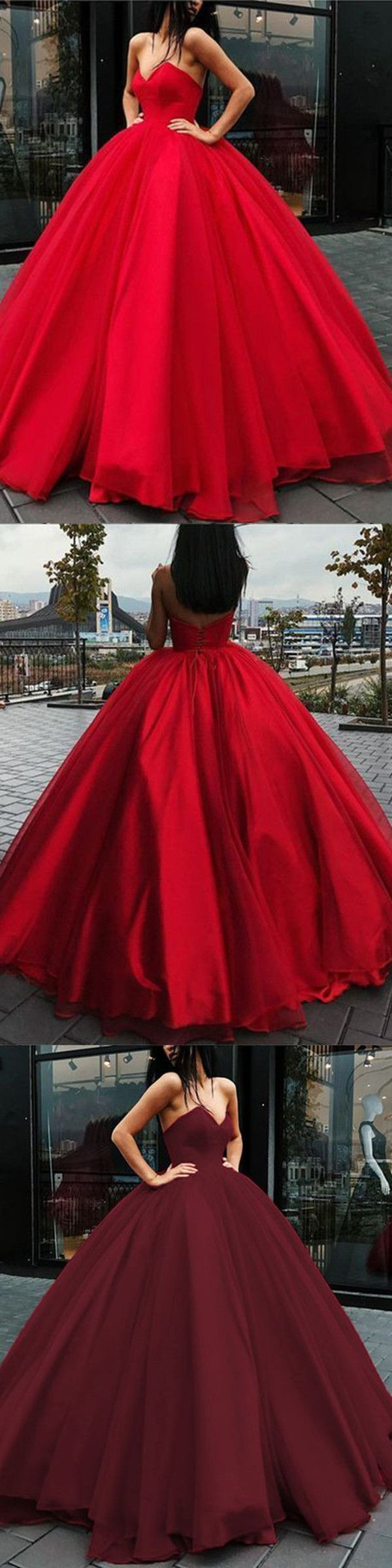 Ball gown red prom dress sweetheart simple long cheap prom dress