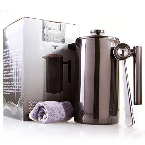 Best French Press Coffee Maker By Freshtek Durable No Plastic Or Gl Pot With Bonus Scoop And Cloth Easy Clean Up 3 Colors To Choose From
