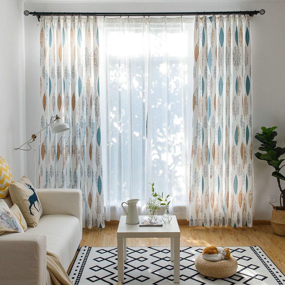 Moderner Vorhang Blätter Design Weiß im Schlafzimmer in