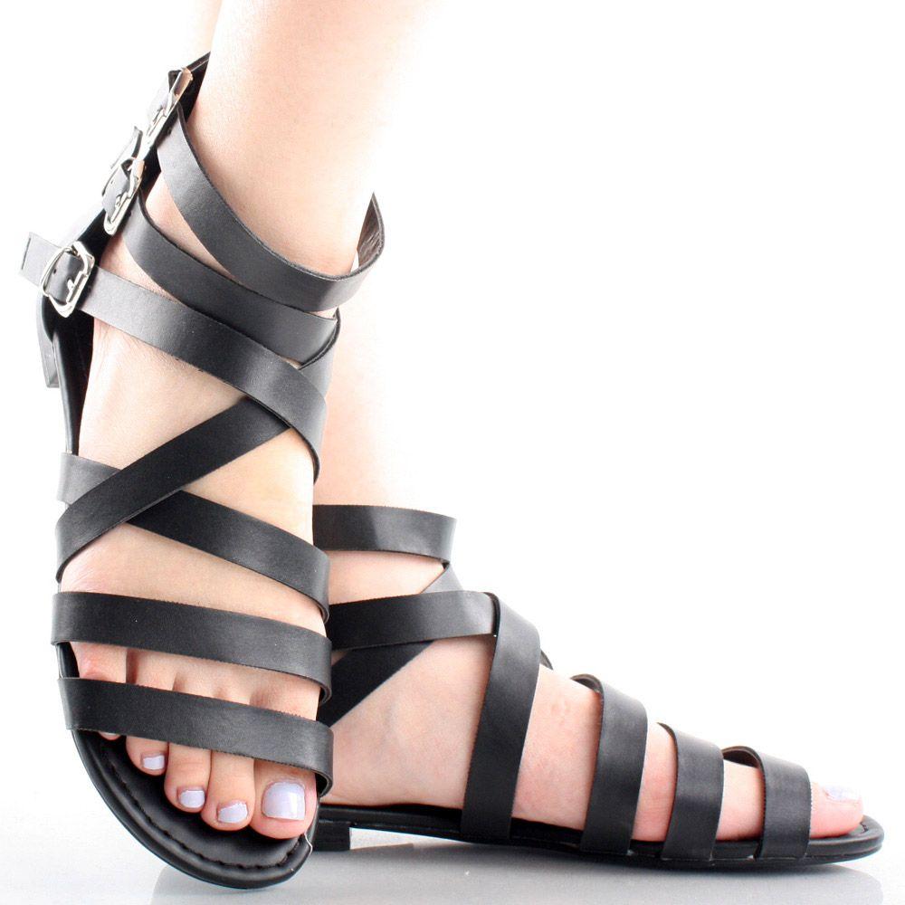 black summer sandels | Black Buckles Strappy Gladiator Roman Casual Summer Sandals | 62544