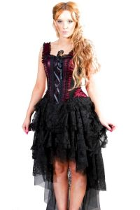 d4307b419962 Burleska Gothic Corset Dress - Ophelie Dress Burgundy Satin Flock ...