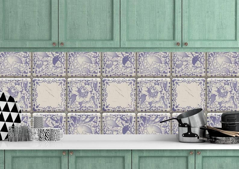 wallpaper peel and etsy delft tiles