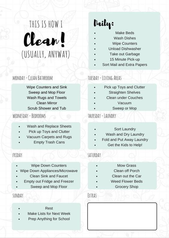 Free Printable Cleaning Schedule Daily Cleaning Free Printable