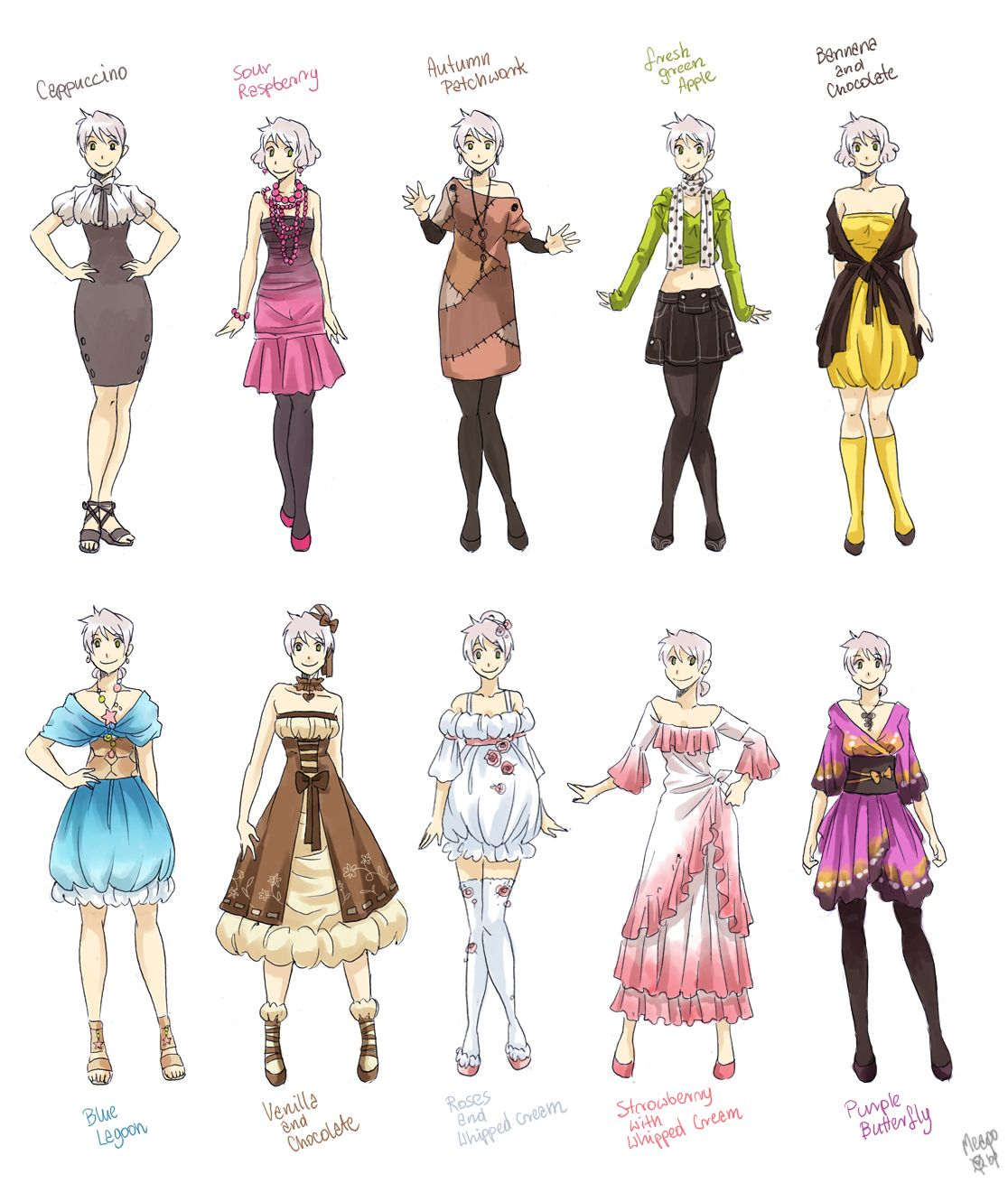 Various Female Clothes By Meago On Deviantart Anime Outfits Drawing Anime Clothes Art Clothes
