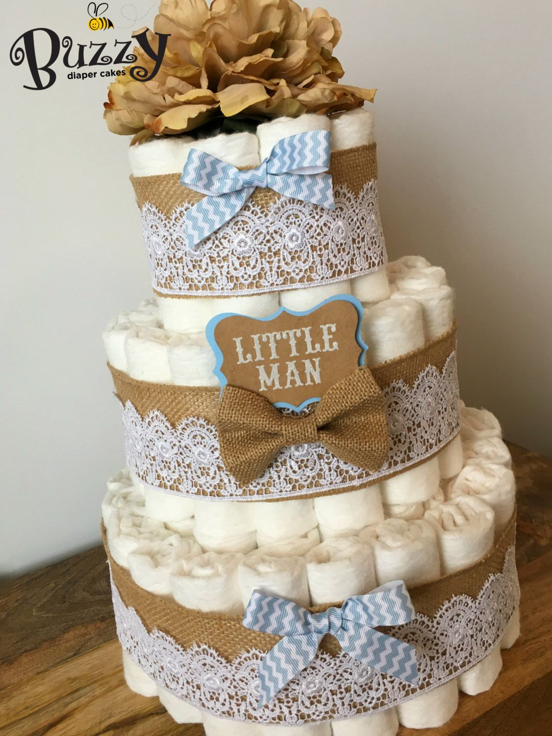 Little Man Diaper Cake Burlap And Baby Blue 3 Tier