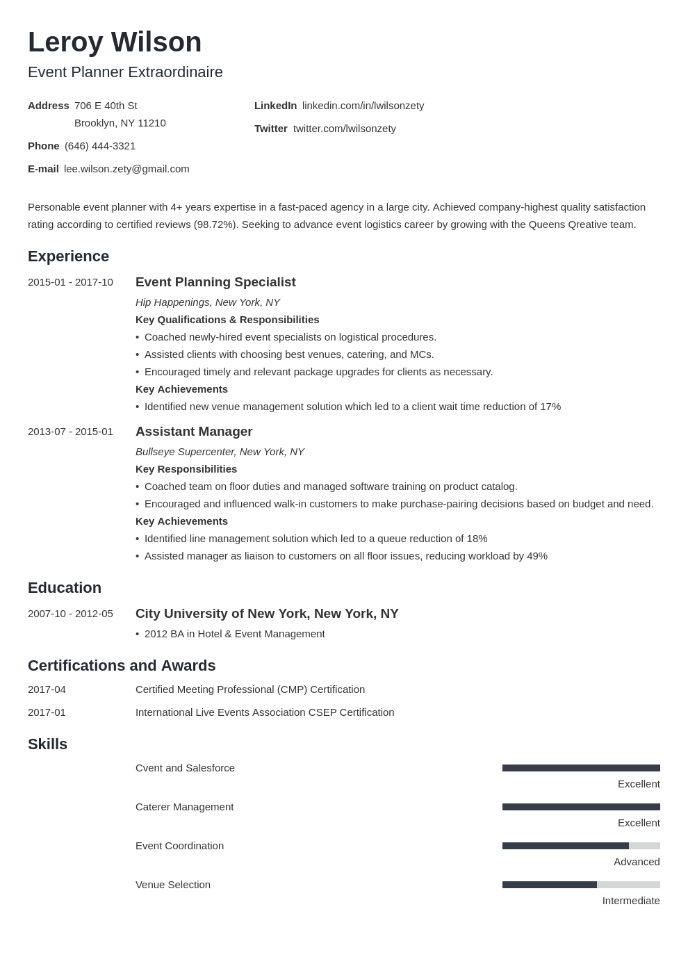 event planner resume example template minimo in 2020