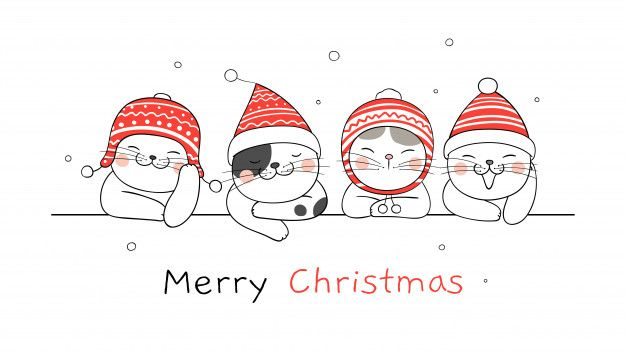 Merry Christmas Banner With Cats