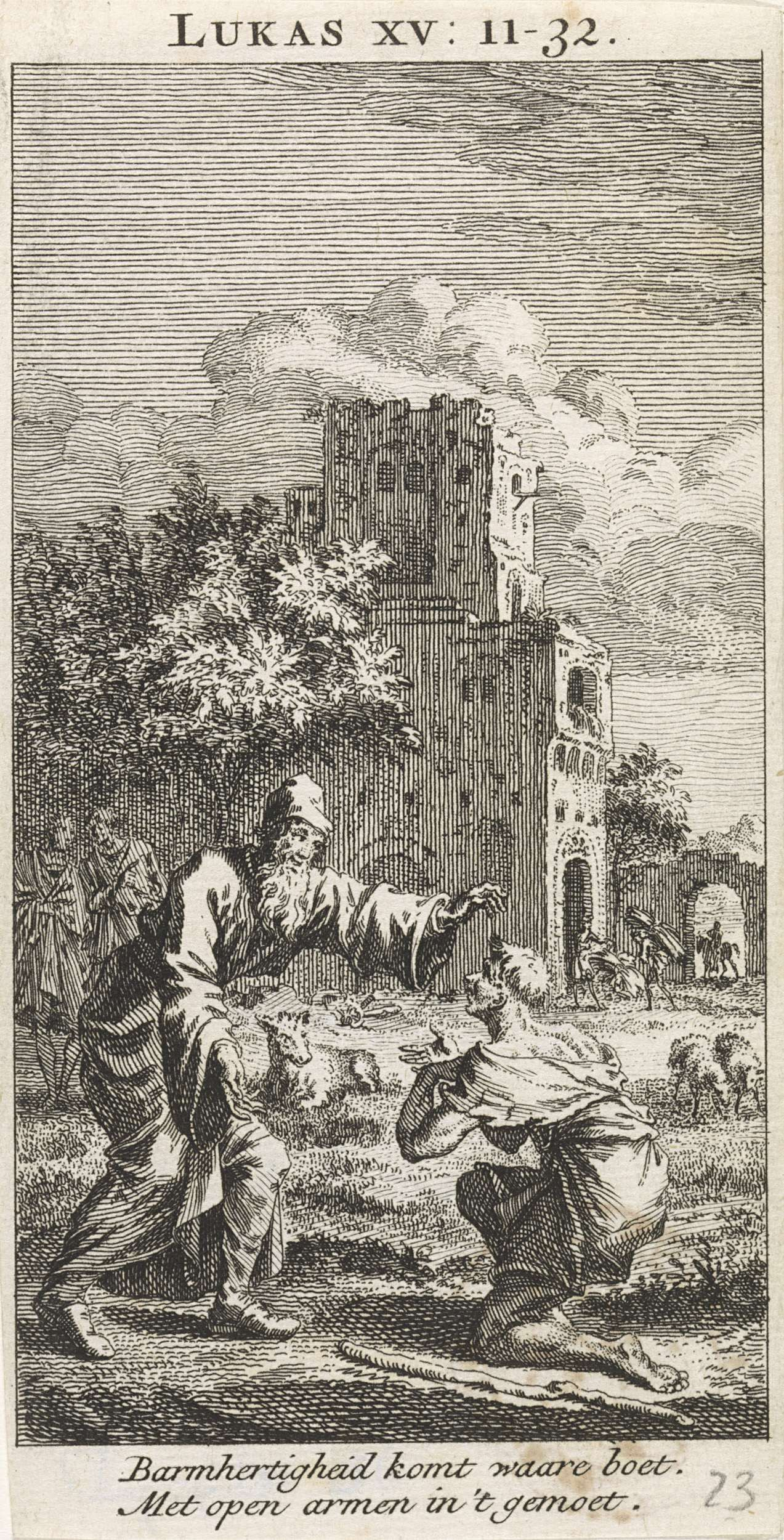 Jan Luyken | Terugkeer van de verloren zoon, Jan Luyken, Anonymous, 1712 |