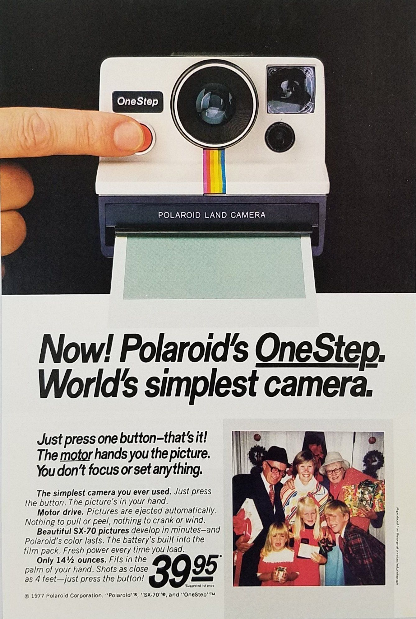 1977 Polaroid OneStep Camera Vintage Ad - Christmas Family Photo ... 845927586b