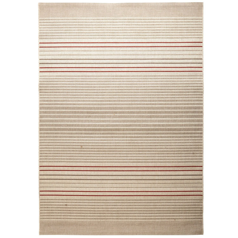 Red Dobby Flatweave Stripe Rug - Spice - Polypropylene - Outdoor