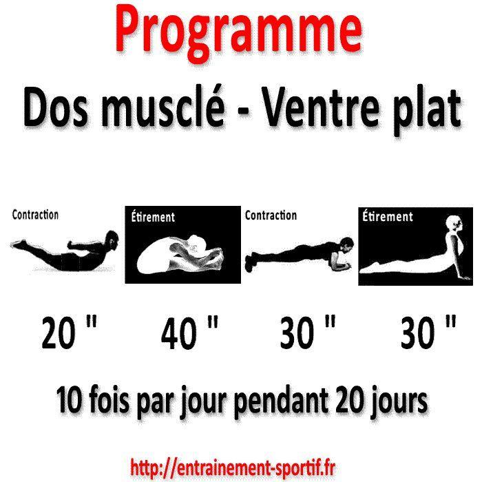 Fabuleux Programme dos musclé ventre plat en 20 jours pour une silhouette  SD97