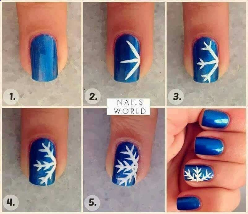 Cute easy winter nails! Take it up a notch with some glitter for ...