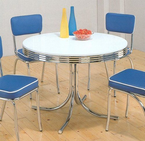 Vintage Chrome Kitchen Table: 50's Retro Nostalgic Style Chrome Plated Round Dining Table