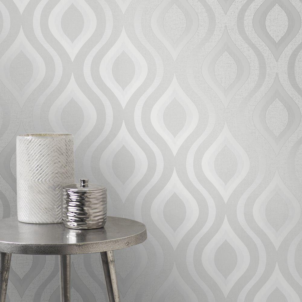 Fine Decor Quartz Geo Silver Wallpaper In 2019 Geometric