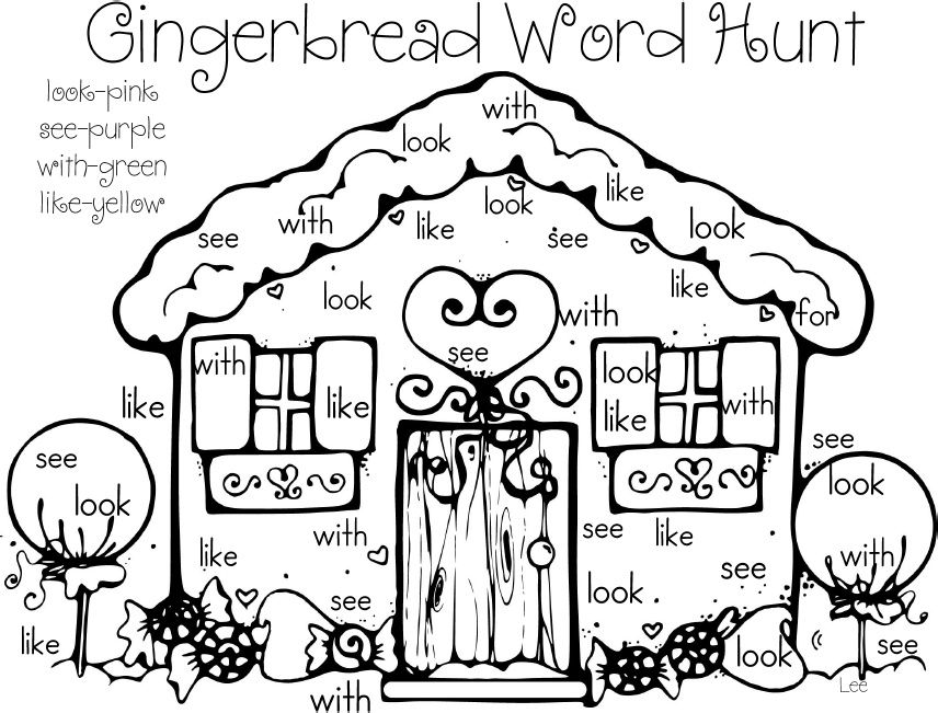Gingerbread House Word Hunt. Meg is too old for this but