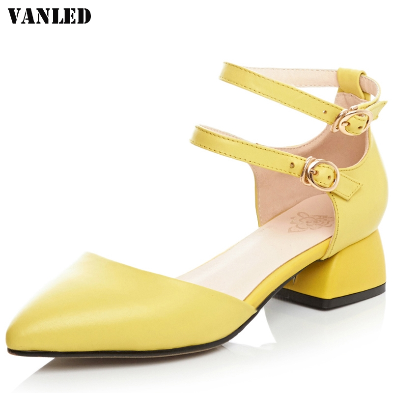 39.80$  Watch now - http://alizmv.shopchina.info/1/go.php?t=32809413748 - VANLED Pointed Toe Mid Heel Sandals Buckle Fashion Summer Ladies Sandals Square heel Leisure Women Sandals 2017 New Sandal 39.80$ #aliexpressideas