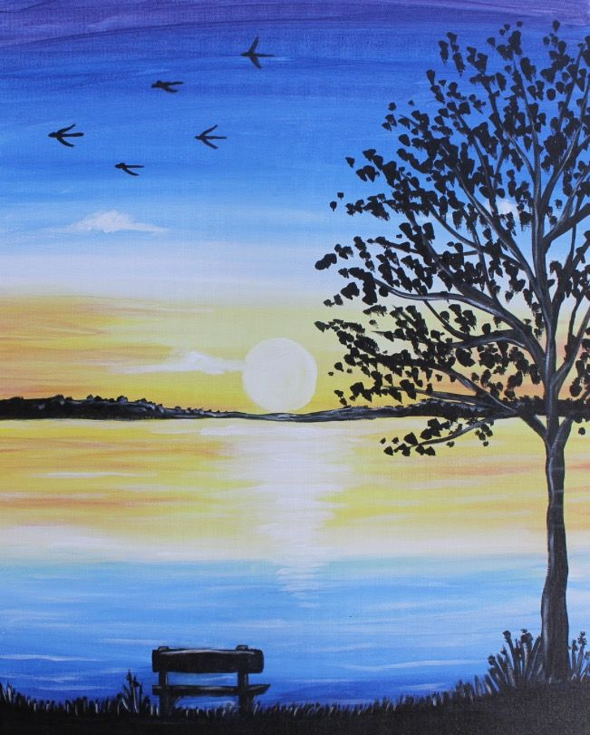 Beginner Painting Park Bench Tree Silhouette On