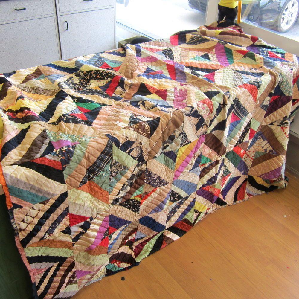 """Antique Silk Pieced Multi-Color Herringbone Quilt w/Ruffle Border 75"""" x 83"""""""