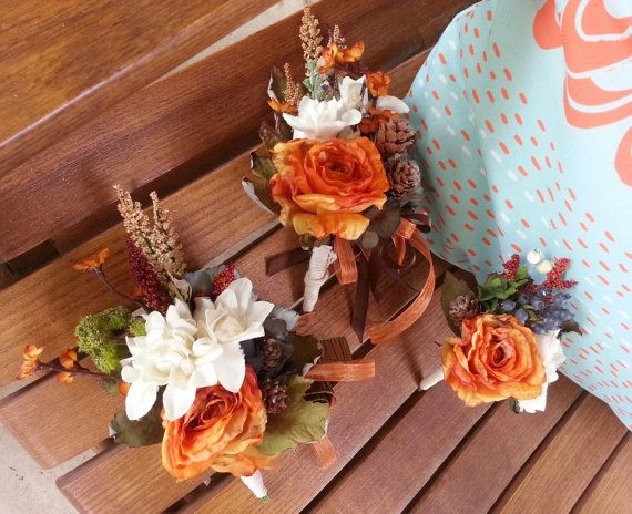 CORSAGES Custom Order for Cream and Fall Orange Rustic by KAArtisticEvents, $12.00